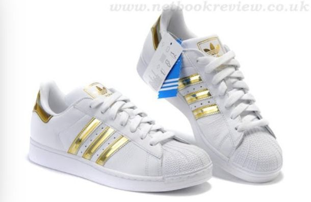 Adidas Women's Superstar Metal Toe W (Black, White & Gold Metallic)