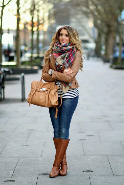 shoes scarf tartan scarf jeans leather jacket brown leather jacket fall outfits