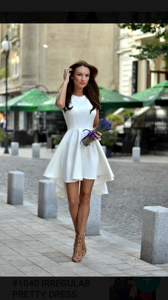 dress white dress fit and flare dress high low dress short dress white short dress
