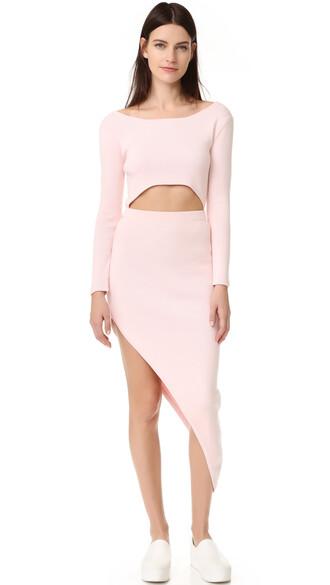 dress asymmetrical dress long asymmetrical light pink light pink