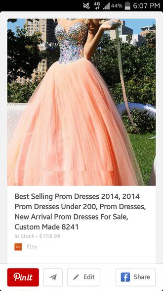 coral dress silver jewels prom dress puffy pink puffy dress