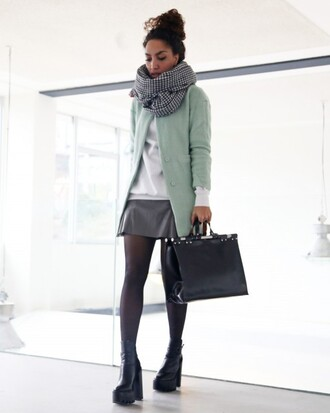 from hats to heels blogger scarf mint cardigan mini skirt