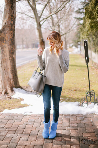 ivory lane blogger beige sweater grey bag skinny jeans ugg boots winter outfits fall outfits nude sweater prada prada bag jeans blue jeans boots flat boots blue boots