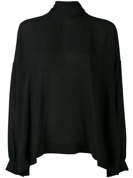 Balenciaga blouse women black silk top