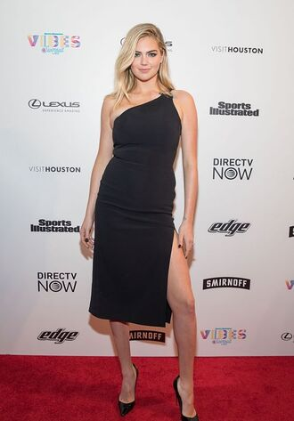 dress kate upton model one shoulder black dress midi dress pumps