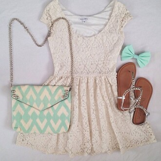 dress shoes bag hair accessory mint chevron mint chevron lace dress whitr vintage fashion hot white shirt cute dress summer dress girly dress set