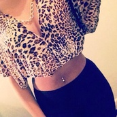 shirt,leopard print,crop,dressy,dressy shirt,cute,urgent,asap,love,deep v