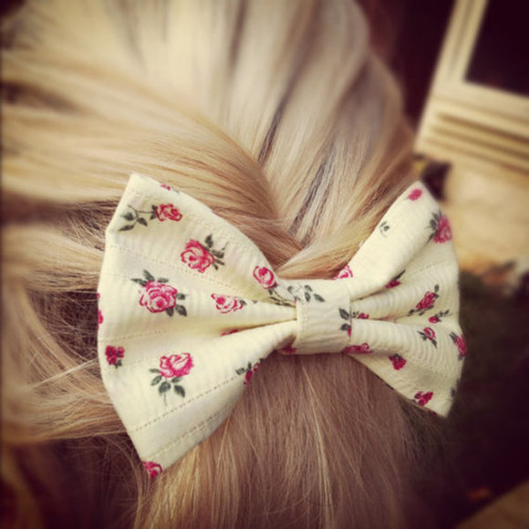 jewels hair bow blonde hair floral