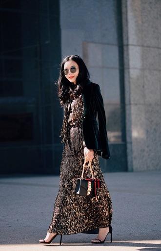 hallie daily blogger jacket blouse skirt bag sunglasses shoes blazer high heel sandals gucci gucci bag winter date night outfit gold dress maxi dress velvet velvet blazer