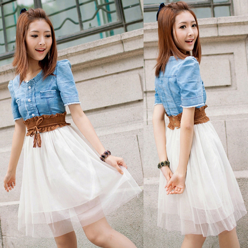 Free Shipping, Fashion 2013 summer Women's Vintage Jean Dresses Denim Dress Retro Girl Blue Top White With Belt-in Dresses from Apparel & Accessories on Aliexpress.com