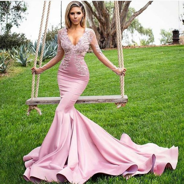 Dress: pink, light pink, pink dress, long dress, long sleeve dress ...