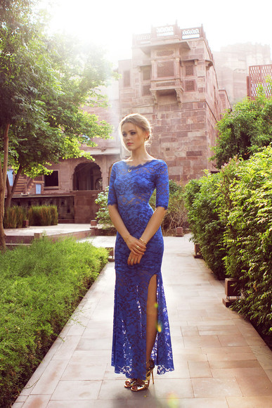 shoes prom dress lace dress homecoming dress kayture jewels blue maxi dress slit chic blogger blogger dress blogger fashion haute couture