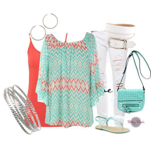 Mint and coral Colour Palette Shoppable Tips Where To Get It Top Betsy Boos Boutique Chevron Mint Coral White Denim Belt