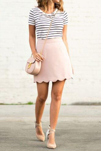 striped top statement necklace pink skirt mini skirt mini bag shoulder bag nude heels striped shirt asos streetwear skirt nude skirt top bag chloe bag shoes nude shoes summer outfits scalloped skirt scalloped t-shirt striped t-shirt necklace chloe pink bag pointed toe pumps pumps pink shoes pastel pastel pink pastel bag pastel skirt