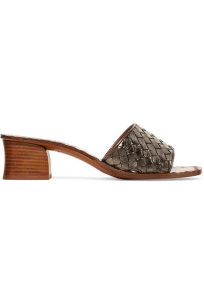 Bottega Veneta metallic mules leather shoes