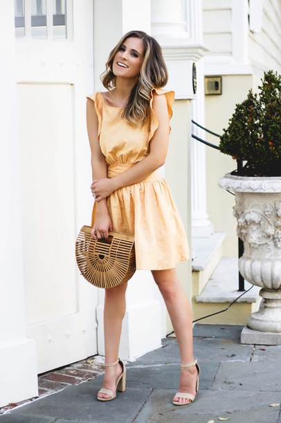 thedaintydarling blogger shoes bag jewels cult gaia bag yellow dress sandals high heel sandals spring outfits summer outfits