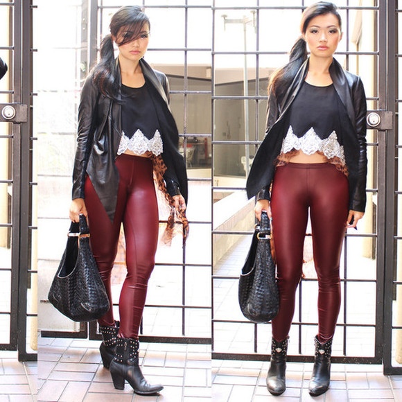 nastygal shirt crop tops ox blood leggings