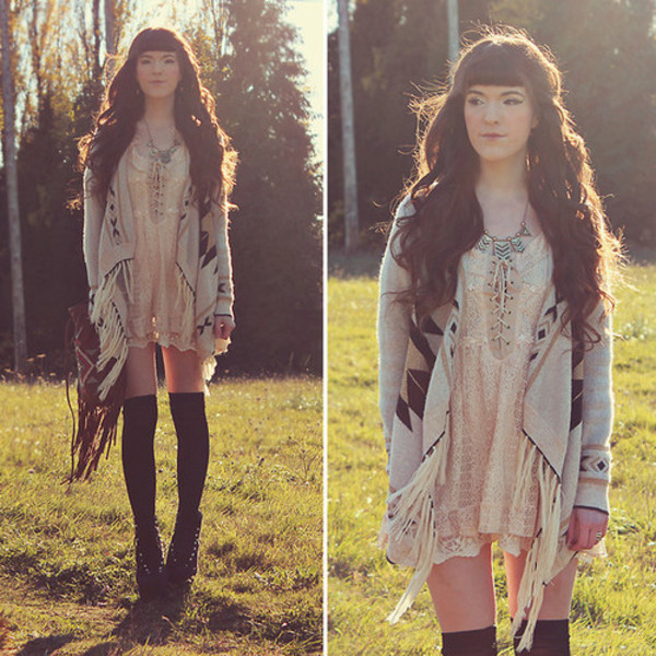 cardigan beige print brown nature native american black socks