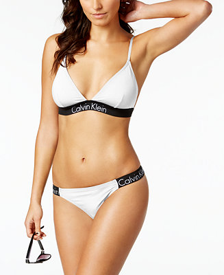 Calvin Klein Logo Triangle Bikini Top & Cheeky Bottoms - Swimwear - Women - Macy's