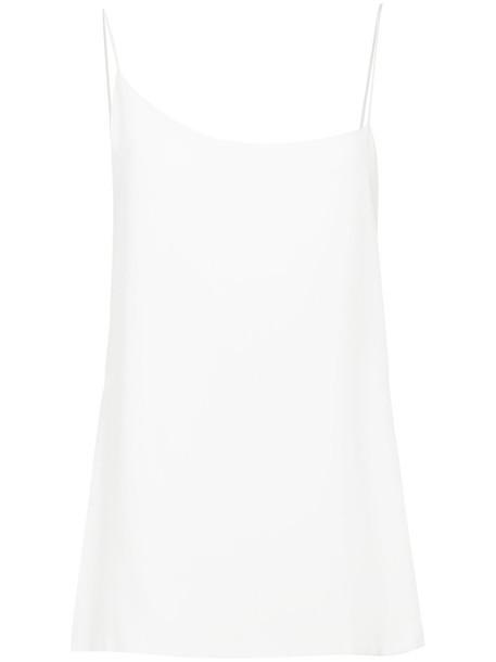 Kacey Devlin top women white silk