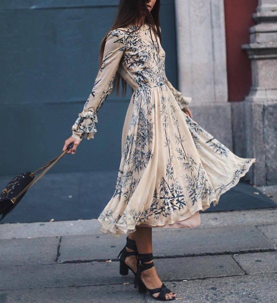 79cb46c36437 dress tumblr midi dress floral dress flowy dress long sleeves long sleeve  dress sandals sandal heels