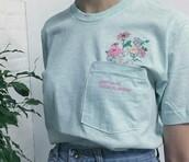 shirt,blue,flowers,floral,tumblr