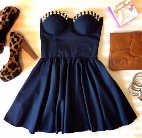 dress navy navy blue dress gold