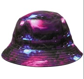 hat,bucket hat,galaxy print,galaxy hat