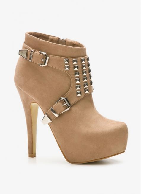 Botki beżowe na obcasie / Botki / Obuwie damskie -  Modne buty, stylowe obuwie i torebki damskie, sklep z torebkami i butami, modne buty letnie i zimowe - DeeZee.pl