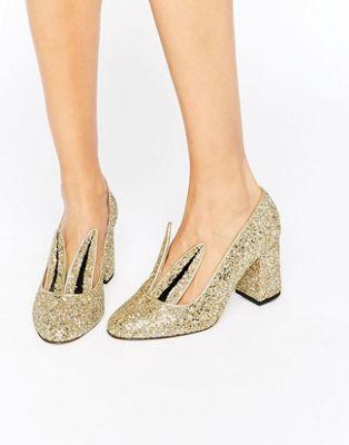 Minna Parikka Jackie Gold Glitter Bunny Ear Heeled Shoes at asos.com