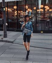 jacket,denim jacket,white blouse,shorts,sock boots,high heels boots,crossbody bag,cap