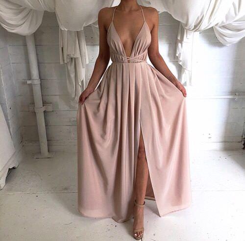 Pink Maxi Slit Elegant Dress on Storenvy