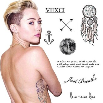 miley cyrus jewels jewel cult miley cyrus tattoos miley cyrus fashion tattoo temporary tattoo arrow dreamcatcher