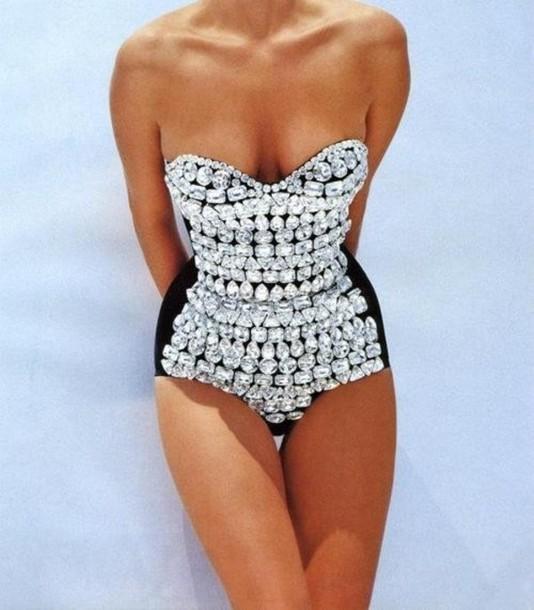 swimwear swimming costume bling-bling body bodysuit ...