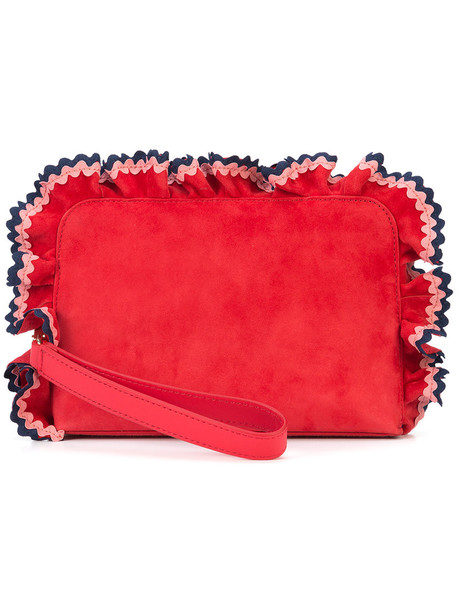 Loeffler Randall ruffle women purse suede red bag