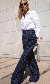 pants,work outfits,plaid,wide-leg pants,pernille teisbaek,instagram,blogger,blogger style,shirt,top
