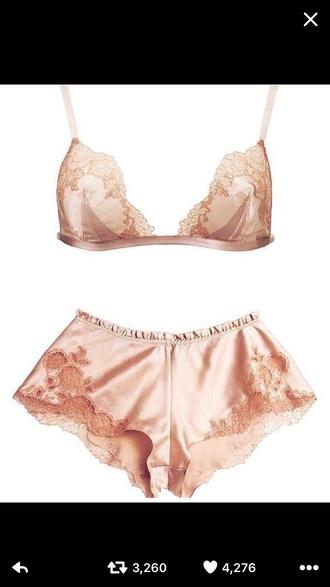 pajamas pink lace lingerie short shorts bra bralette silk
