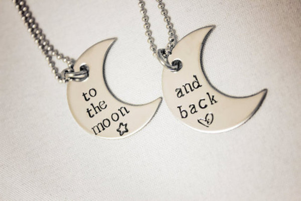 jewels bff necklace moon i love you to the moon and back love love quotes valentines day gift idea