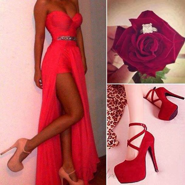 Red dress red heels for homecoming
