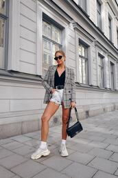 kenza,blogger,jacket,top,shorts,sunglasses,shoes,bag,blazer,sneakers