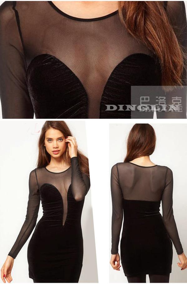 Sexy Women Backless Deep V Sheer Mesh Patchwork Cocktail Clubwear Fit Mini Dress   eBay