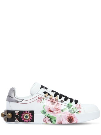 sneakers floral leather white shoes