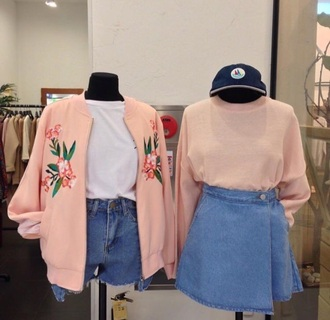 jacket pink bomber jacket embroidered floral