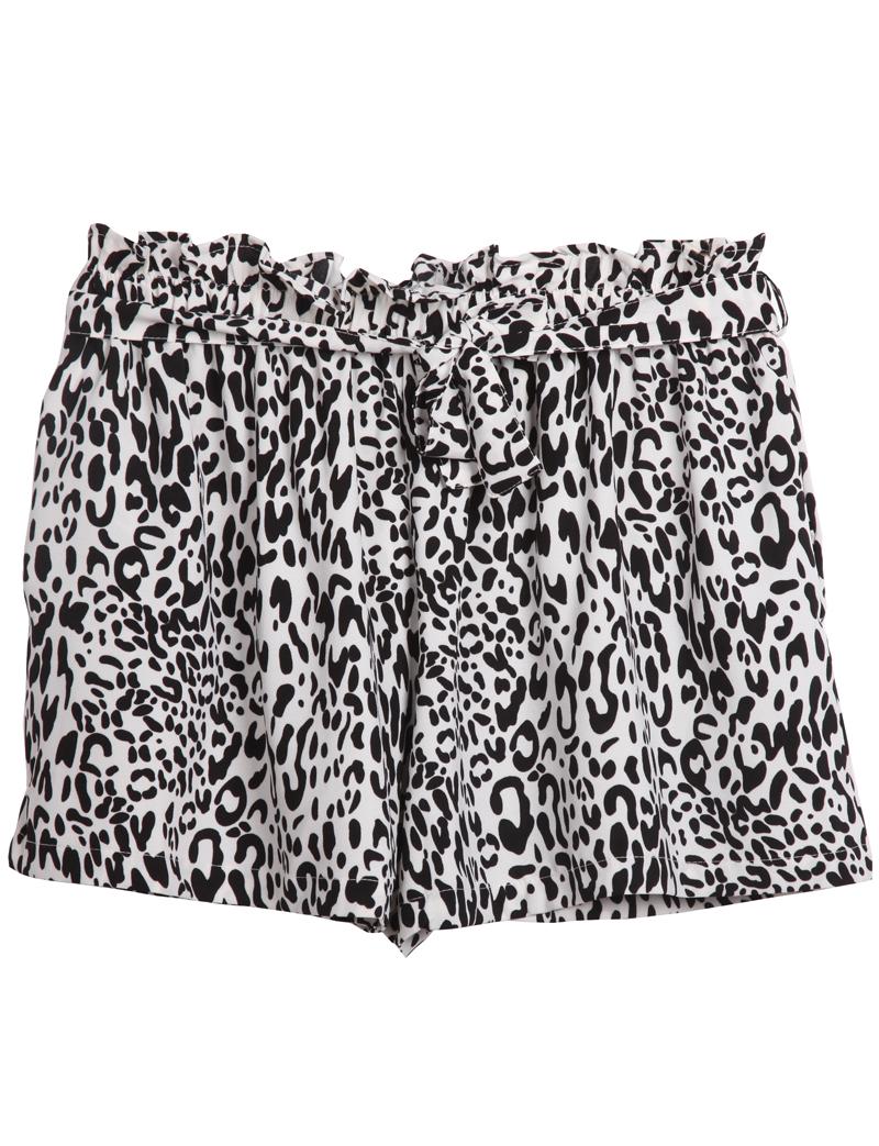 Black White Leopard Belt Shorts - Sheinside.com