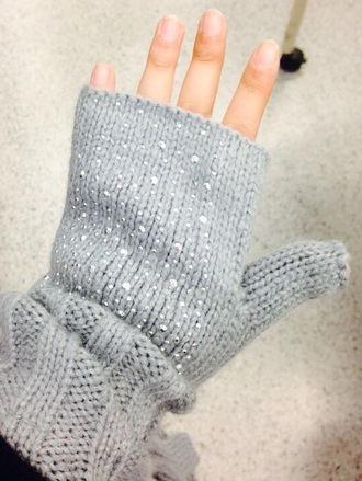 gloves grey gloves sparkly