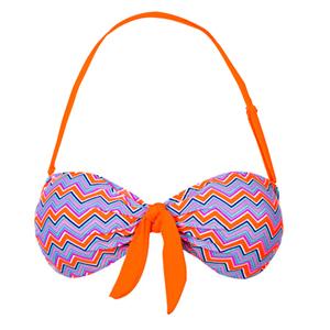 Gemelli Dolly Mix Tie front Bandeau Bikini Top Tangerine | Gemelli