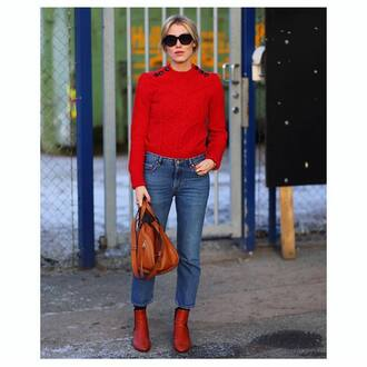 sweater tumblr red sweater cable knit red cable knit sweater sunglasses round sunglasses black sunglasses denim jeans blue jeans cropped jeans boots brown boots ankle boots flat boots bag brown bag french girl style