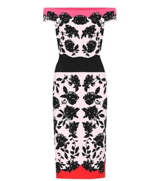 Alexander Mcqueen dress jacquard knit pink