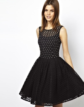 A Wear | A Wear Lace Skater Dress With Embellishment at ASOS