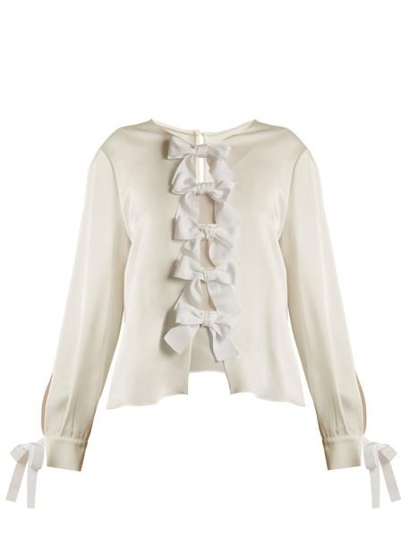 blouse bow back satin white top